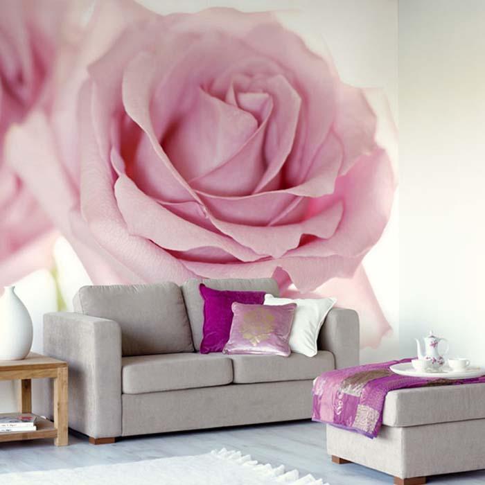 дизайн гостиной с фотообоями в розовом цвете пусть твой